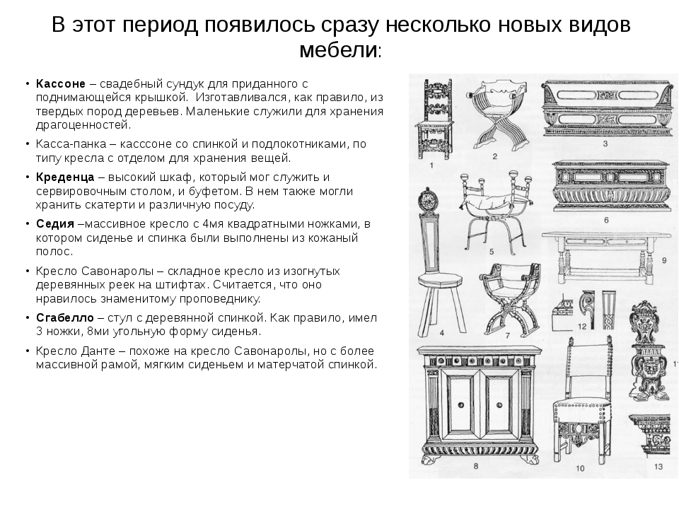 В этот период появилось сразу несколько новых видов мебели: Кассоне – свадебн...
