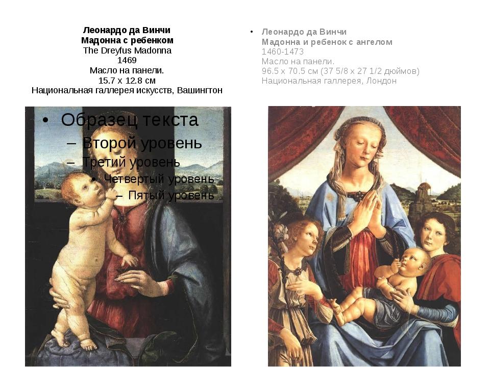 Леонардо да Винчи Мадонна с ребенком The Dreyfus Madonna 1469 Масло на панели...