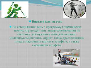 Биатлон как он есть На сегодняшний день в программу Олимпийских зимних игр в