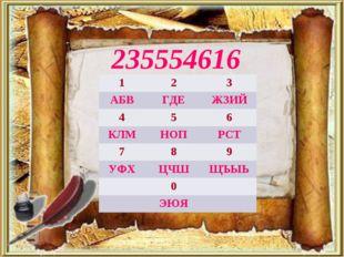 235554616 123 АБВГДЕЖЗИЙ 456 КЛМНОПРСТ 789 УФХЦЧШЩЪЫЬ 0 ЭЮЯ