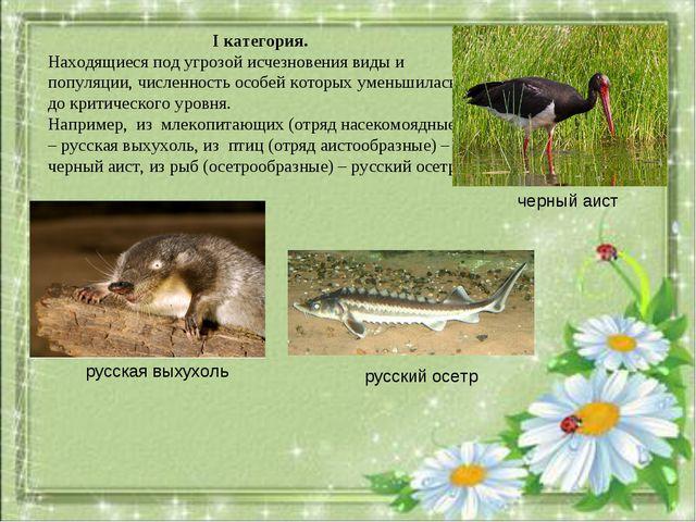 I категория. Находящиеся под угрозой исчезновения виды и популяции, численнос...