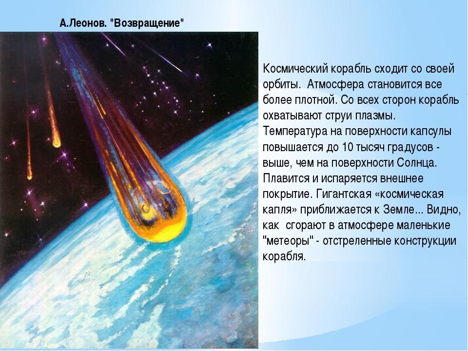 """А.Леонов. """"Возвращение"""" Космический корабль сходит со своей орбиты. Атмосфер..."""