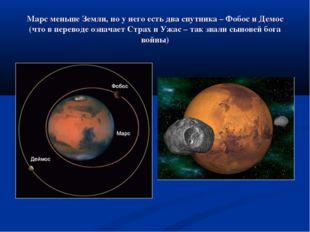 Марс меньше Земли, но у него есть два спутника – Фобос и Демос (что в перевод