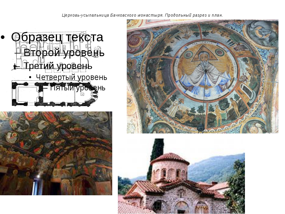 Церковь-усыпальница Бачковского монастыря. Продольный разрез и план.