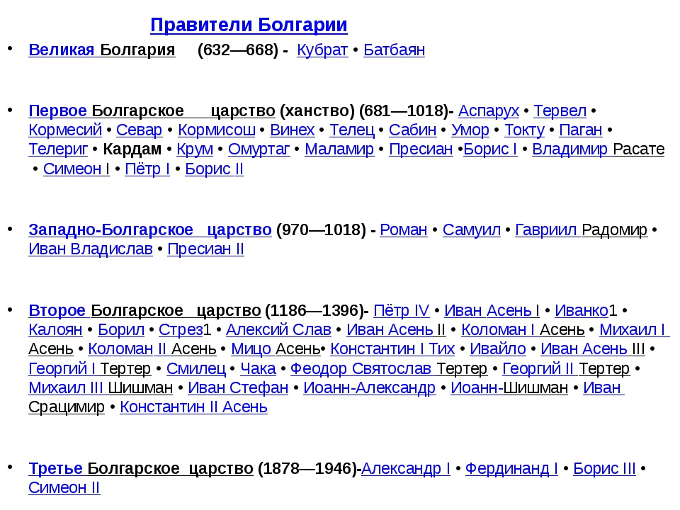 Правители Болгарии Великая Болгария (632—668) - Кубрат•Батбаян Первое Болга...