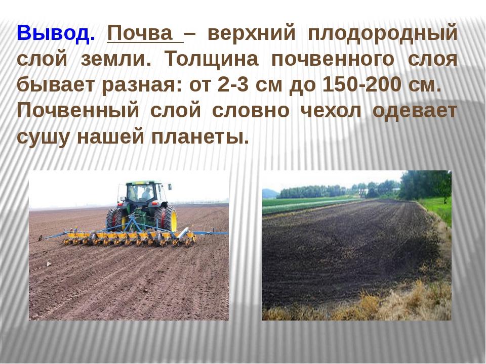 Вывод. Почва – верхний плодородный слой земли. Толщина почвенного слоя бывает...