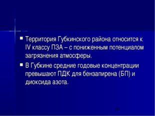 Территория Губкинского района относится к IV классу ПЗА – с пониженным потенц