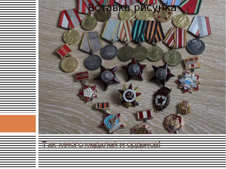 Так много медалей и орденов!