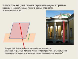 Иллюстрация для случая скрещивающихся прямых (красная и зеленая прямые лежат