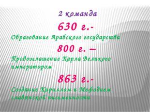 2 команда 630 г.- Образование Арабского государства 800 г. – Провозглашение К
