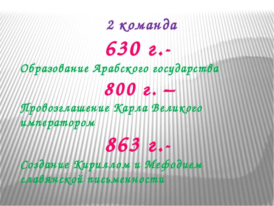 2 команда 630 г.- Образование Арабского государства 800 г. – Провозглашение К...