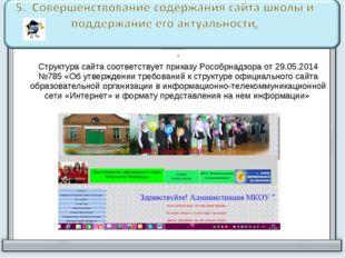 . Структура сайта соответствует приказу Рособрнадзора от 29.05.2014 №785 «Об