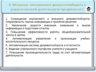 1. Сокращение внутреннего и внешнего документооборота, оперативность поиска и