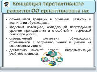сложившиеся традиции в обучении, развитии и воспитании обучающихся; кадровый