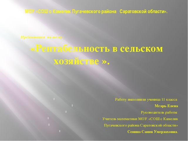МОУ «СОШ с Камелик Пугачевского района Саратовской области». Презентация на т...