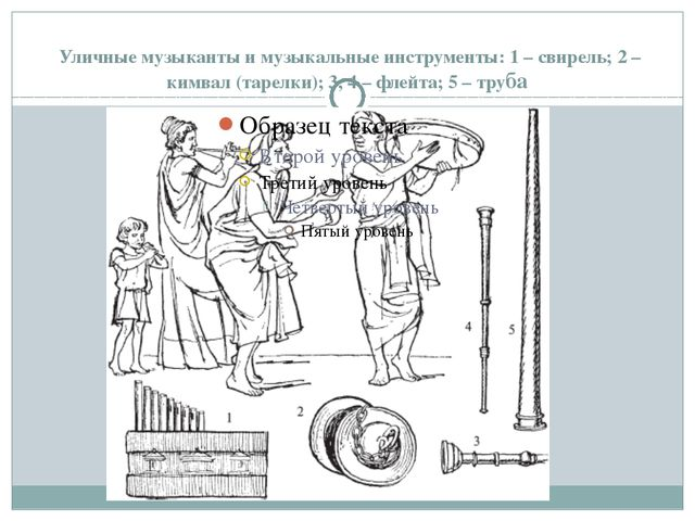 Уличные музыканты и музыкальные инструменты: 1 – свирель; 2 – кимвал (тарелк...