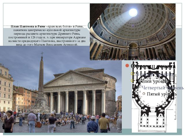 План Пантеона в Риме «храм всех богов» в Риме, памятник центрическо-купольно...