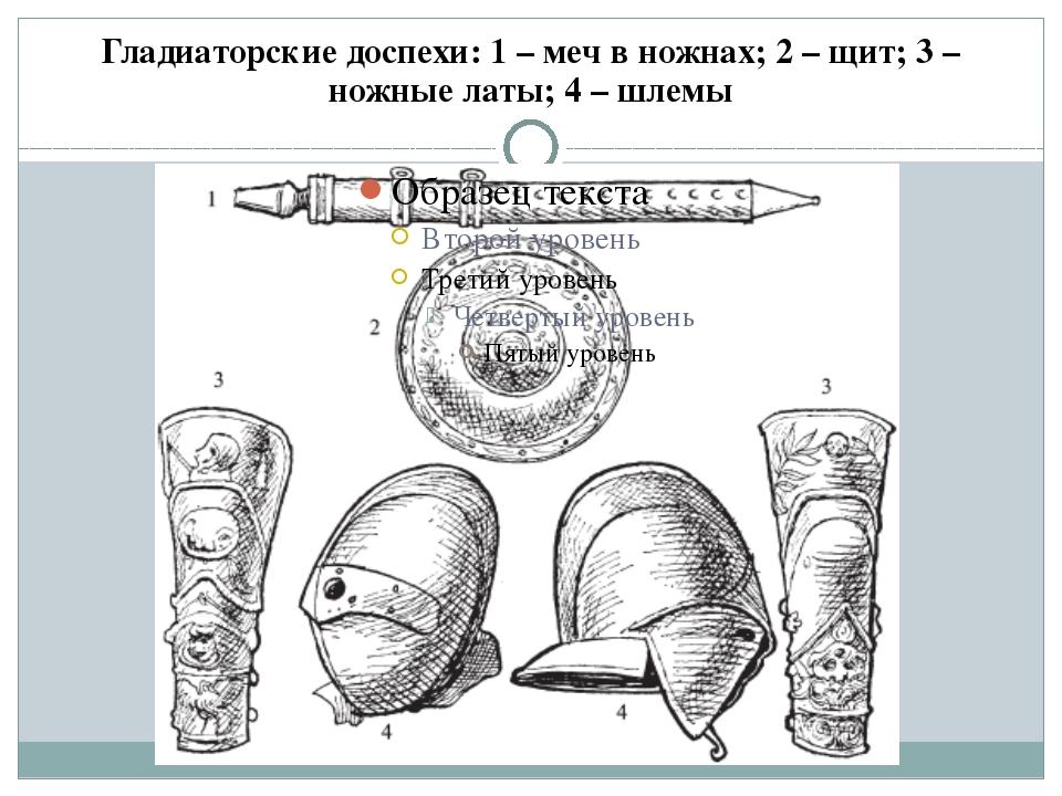 Гладиаторские доспехи: 1 – меч в ножнах; 2 – щит; 3 – ножные латы; 4 – шлемы