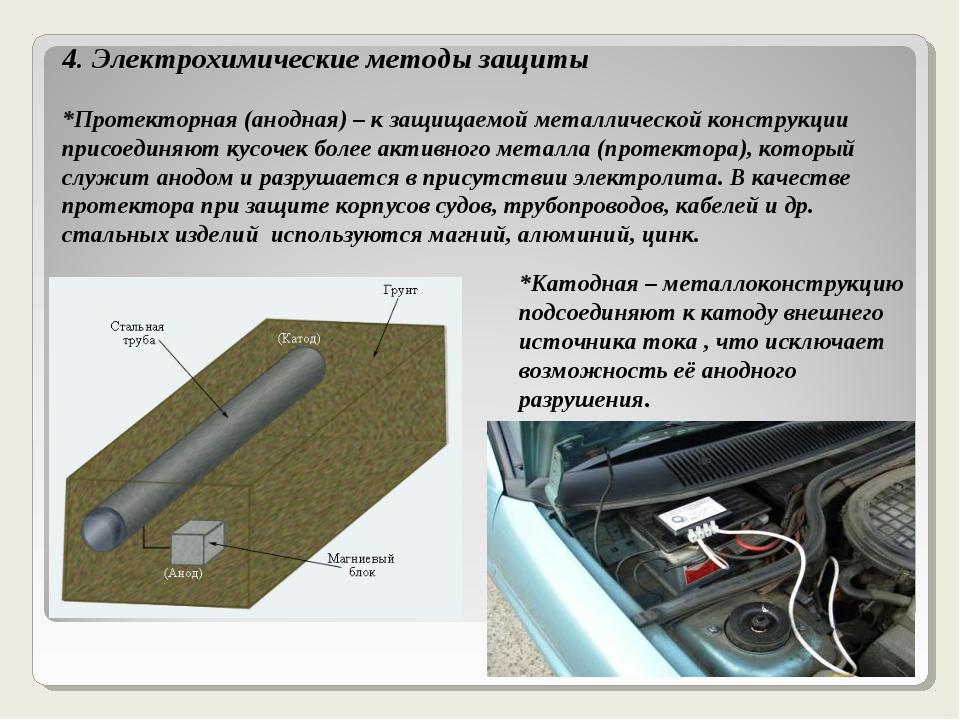 4. Электрохимические методы защиты *Протекторная (анодная) – к защищаемой мет...