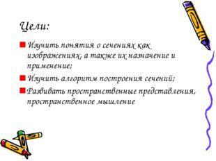 Цели: Изучить понятия о сечениях как изображениях, а также их назначение и пр