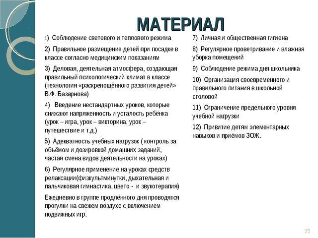 МАТЕРИАЛ 1) Соблюдение светового и теплового режима 2) Правильное размещени...