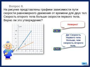 Неверно! На рисунке представлены графики зависимости пути скорости равномерно