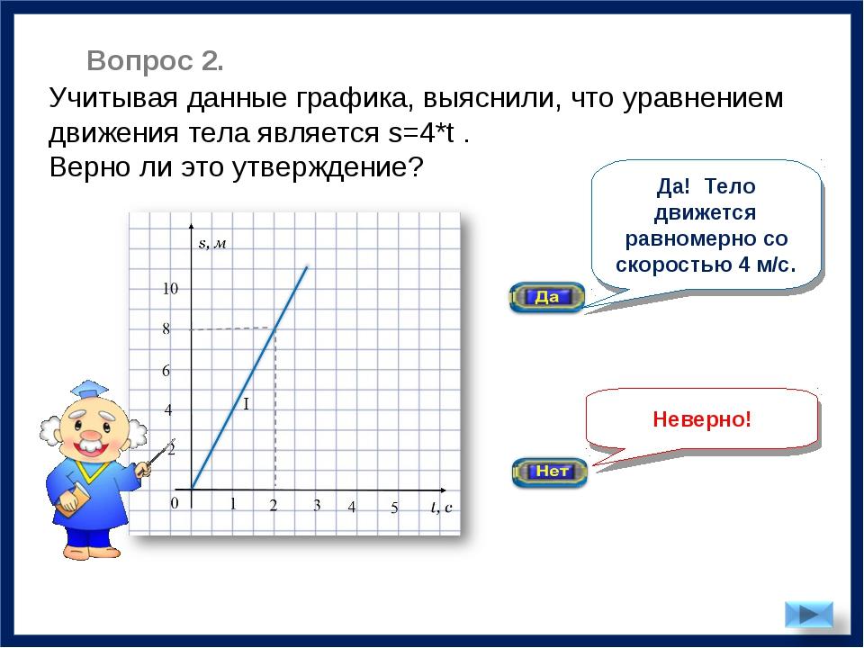 Неверно! Учитывая данные графика, выяснили, что уравнением движения тела явля...