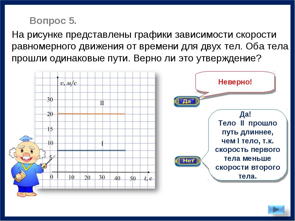 Неверно! На рисунке представлены графики зависимости скорости равномерного дв...