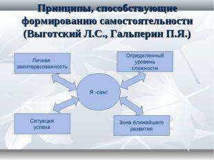 Принципы, способствующие формированию самостоятельности (Выготский Л.С., Галь
