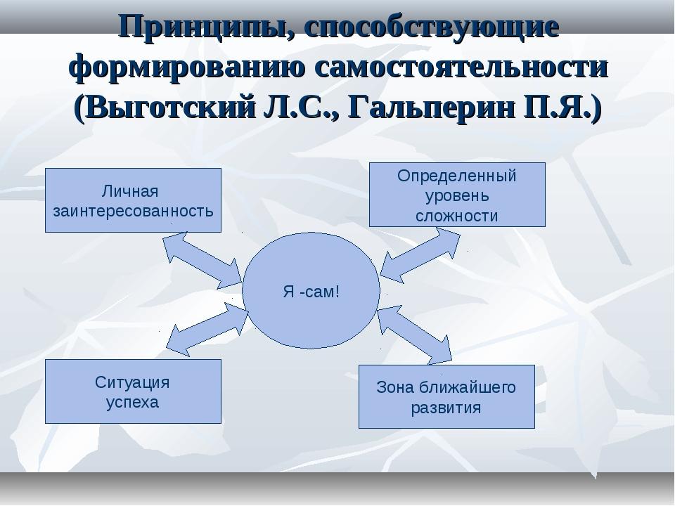 Принципы, способствующие формированию самостоятельности (Выготский Л.С., Галь...