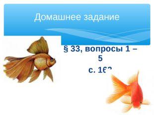 § 33, вопросы 1 – 5 с. 163 Домашнее задание