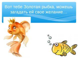 Вот тебе Золотая рыбка, можешь загадать ей свое желание…