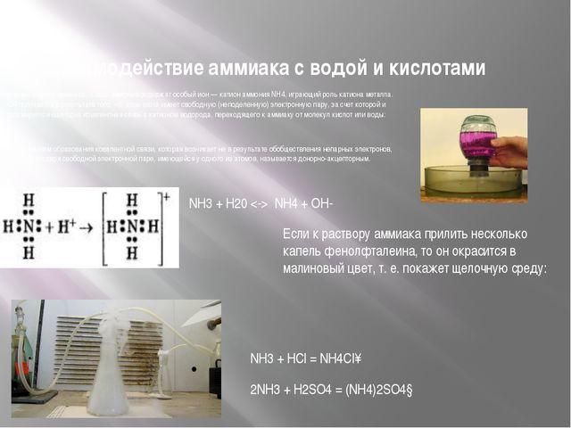 Взаимодействие аммиака с водой и кислотами И водный раствор аммиака, и соли а...