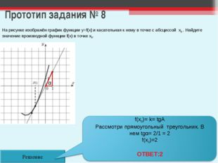 Прототип задания № 8 Решение На рисунке изображён график функции y=f(x) и кас