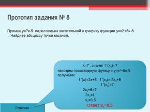 Прототип задания № 8 Решение Прямая y=7x-5 параллельна касательной к графику