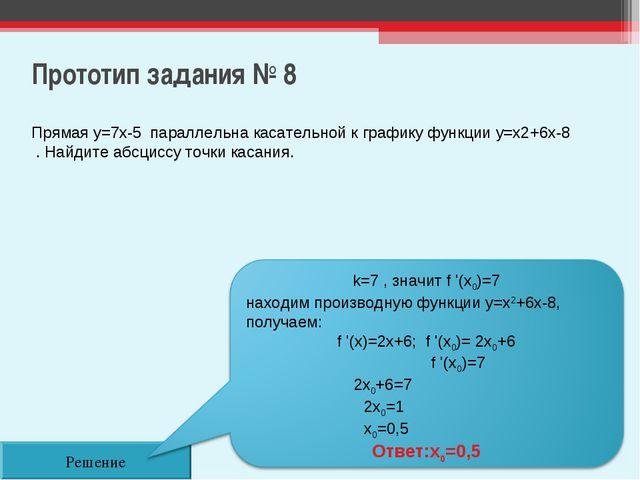 Прототип задания № 8 Решение Прямая y=7x-5 параллельна касательной к графику...