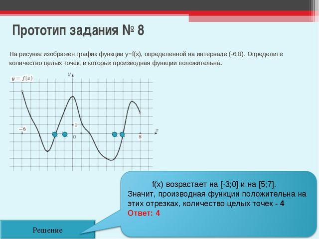 Прототип задания № 8 Решение На рисунке изображен график функции y=f(x), опре...