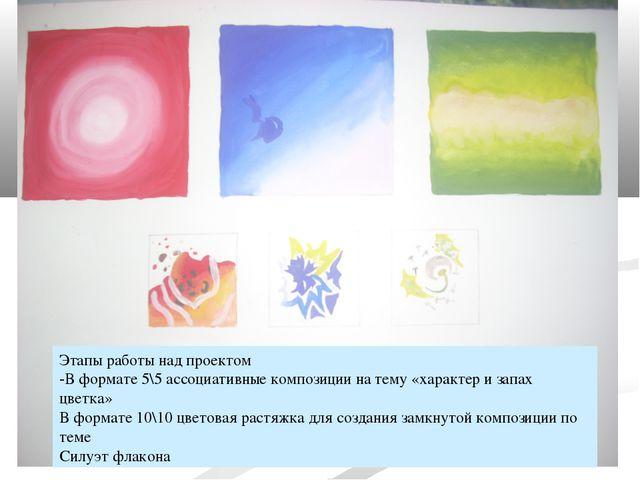 * Этапы работы над проектом -В формате 5\5 ассоциативные композиции на тему «...