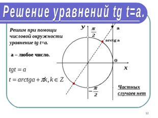 * Решим при помощи числовой окружности уравнение tg t=a. arctg a а a – любое