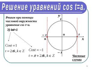 * Решим при помощи числовой окружности уравнение cos t=a. 3) IаI=1 Частные сл