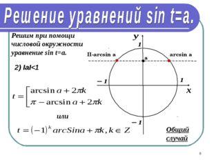 * Решим при помощи числовой окружности уравнение sin t=a. 2) IаI
