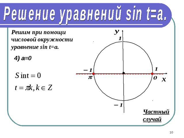 * Решим при помощи числовой окружности уравнение sin t=a. 4) а=0 Частный случай