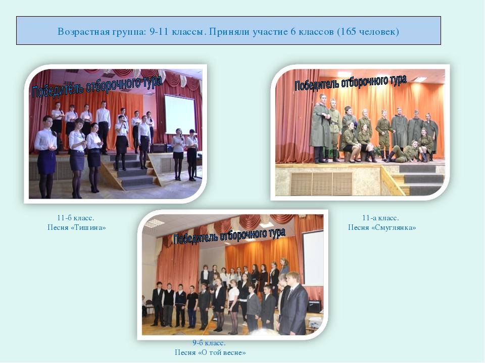 Возрастная группа: 9-11 классы. Приняли участие 6 классов (165 человек) 11-б...