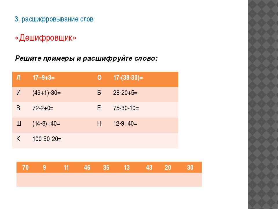 3. расшифровывание слов  «Дешифровщик» Решите примеры и расшифруйте слово: Л...