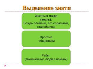 Выделение знати Знатные люди (знать): Вождь племени, его соратники, старейшин