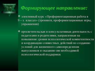 Формирующее направление: элективный курс «Профориентационная работа в 9 – х к