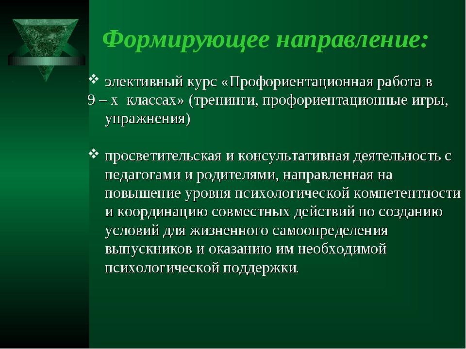 Формирующее направление: элективный курс «Профориентационная работа в 9 – х к...
