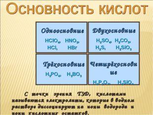 С точки зрения ТЭД, кислотами называются электролиты, которые в водном раств