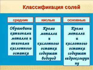 Классификация солей средние кислые основные Образованы катионами металла и ан