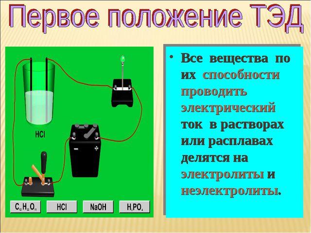 Все вещества по их способности проводить электрический ток в растворах или ра...